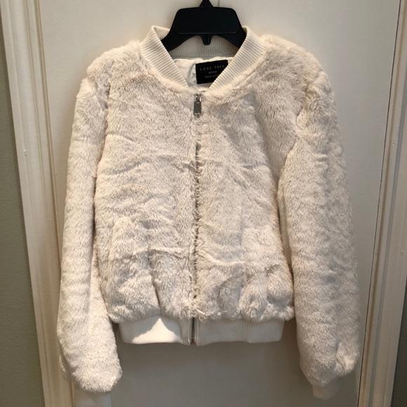 776033564 Cream Faux Fur Bomber Jacket